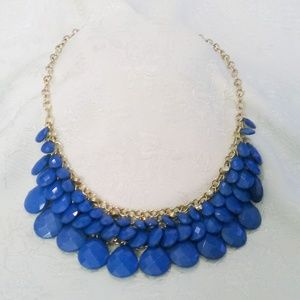 Rhinestone Accented Royal Blue Cha Cha Necklace